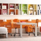 Orange with White Bookcase Teen Room By Tumide