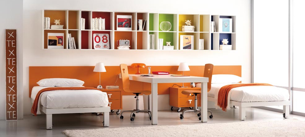 Orange With White Bookcase Teen Room By Tumide Interior
