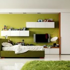 Pencil Green Yellow Bedroom with Green Grass Rug