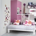 Pink Bunk Beds and Lofts Design for Kids with Flower Wallpaper