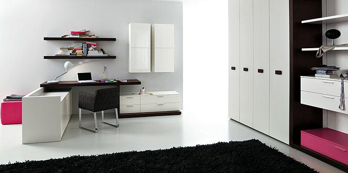 Pink Shelf Bedroom with Black Rug