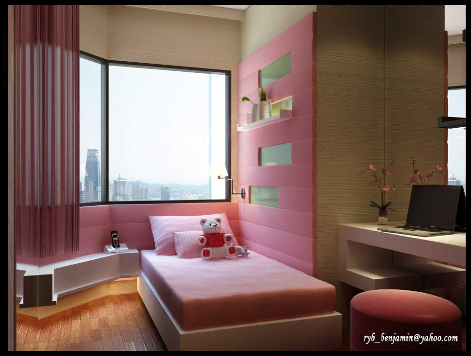 pink wall kids room design ideas for girl interior