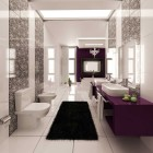 Purple and White Graphic Wall Print Bathroom with Black Rug
