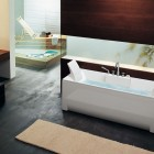 Rectangular Bathtub with Small Rugs by BluBleu