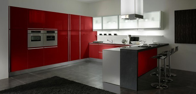 Red Italian Kitchen with Mini Bar by Gatto Cucine