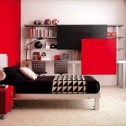 Red Wall with White Rugs Teen Room By Tumide
