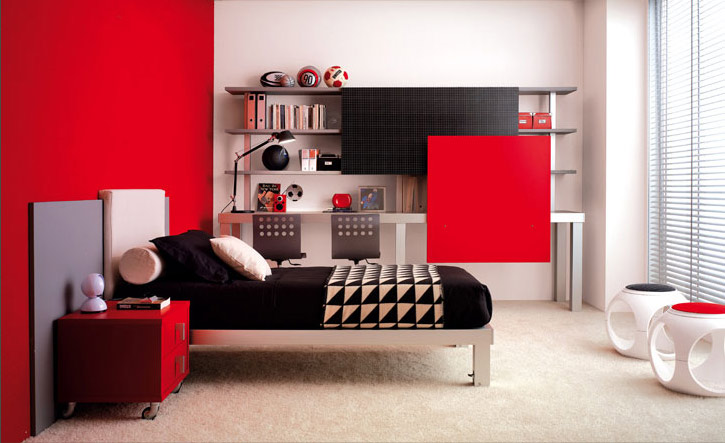 Red And White Teen Room Design Ideas - Home Spaces Design