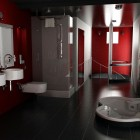 Red and Black Bathroom by Alienmatos