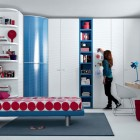 Red and Blue Beech White Contemporary Teenagers Room Design Ideas