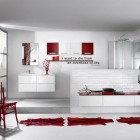 Red and White Bathroom with Leather Rugs from Delpha