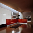 Red and White Kitchen with Black Rug Design Ideas