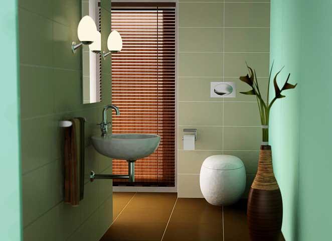 Shining Cultural Texture Bathroom Seagrass Green Wall Design Ideas