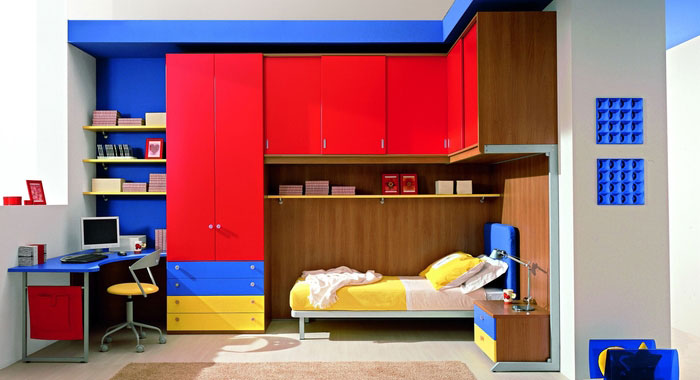 Shining red and blue kids room design interior design ideas for Boys red and blue bedroom ideas