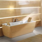 Shining Timber Finish Bathtub and Bathroom by BluBleu