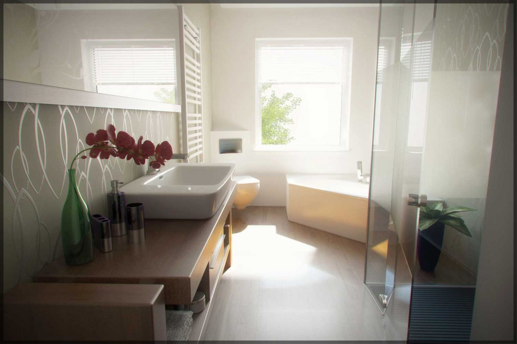 Shining and Contemporary Bathroom by Phanox