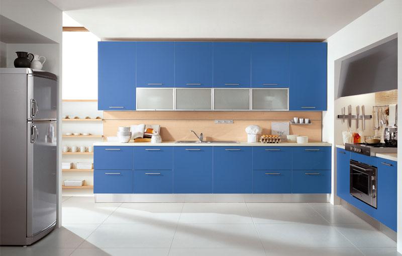 Simple Blue Modular Kitchen Inspirations Interior Design Ideas