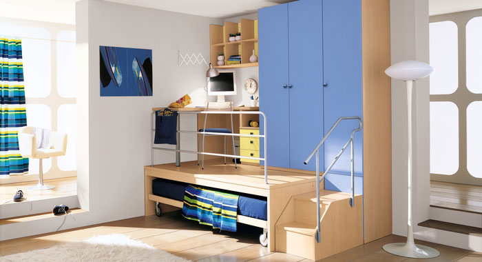 Simple boys bedroom with multilevel study table interior for Funky boys bedroom ideas