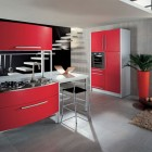 Simple Red Italian Kitchen by Errebi