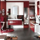 Smart Bathroom Decor with Red Rugs from Delpha