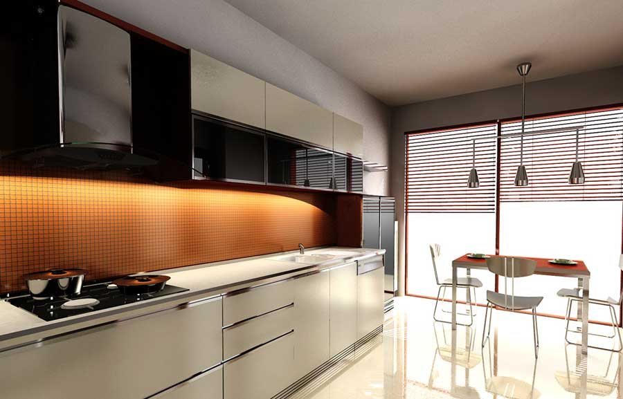 Special Kitchen Orange And White With Tile Wall Interior