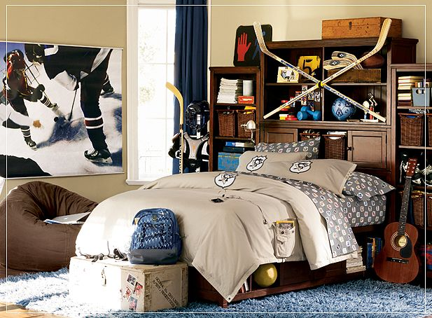 Sporty Teen Boys Room Design with Hockey Stick: Sporty Teen Boys Room Design with Hockey Stick