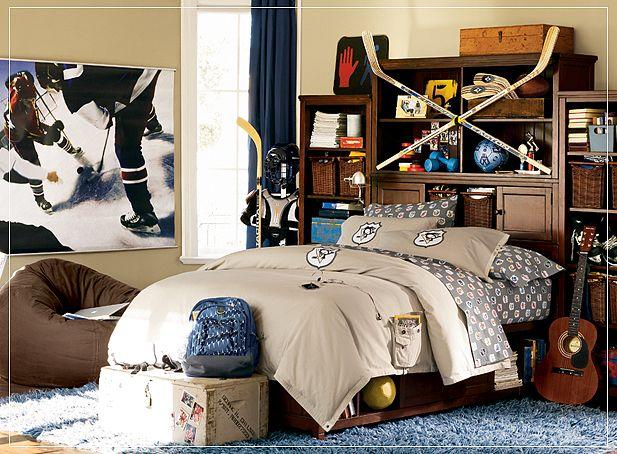 Sporty Teen Boys Room Design with Hockey Stick