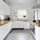 Sterile Kitchen Wood Countertops with Brick Walls