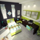 Teen's Bedroom with Sophisticated Green Accents by Aspa