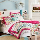 Teen Rooms for Girls with Zigzag Bedcover and Chair Flowers Accents