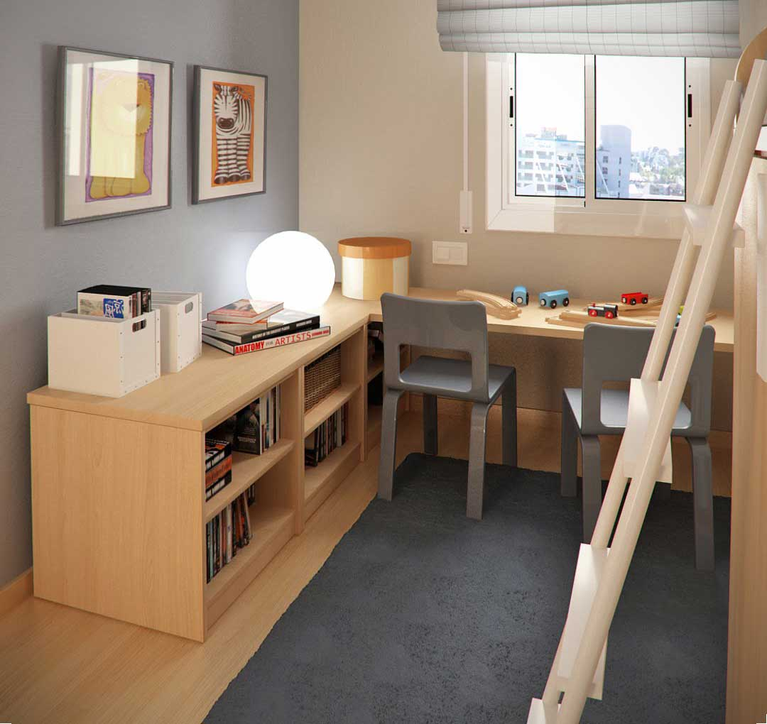 Tiny Childrens Room Design with Stand Stairs