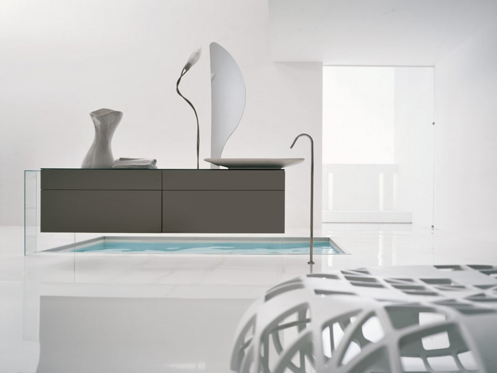 Top Design All White Modern Bathroom with Tub