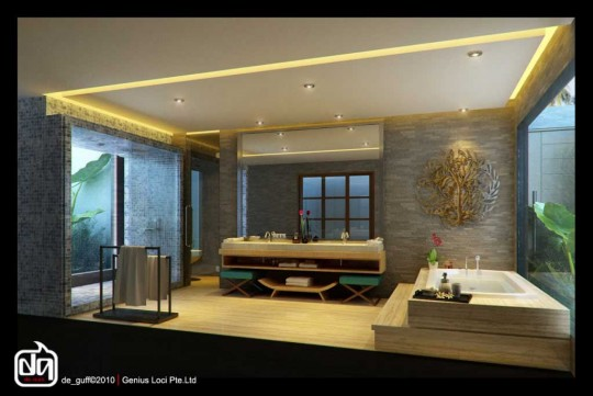 Top Design Aryan Villa Beautiful Spa Bath Brick Walls