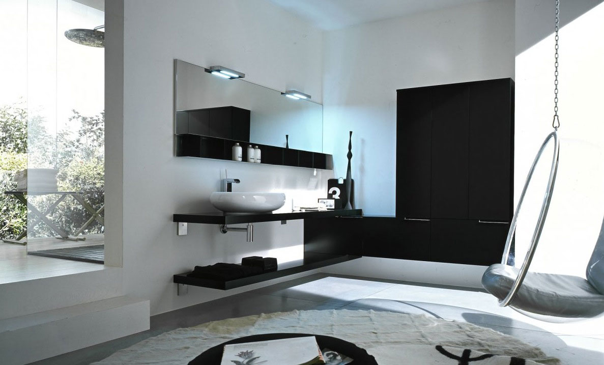 Top design black and white modern bathroom interior for Bathroom interior design white