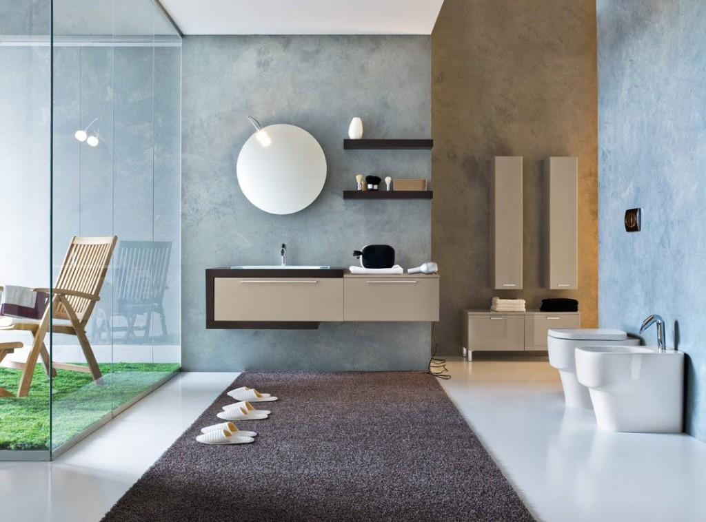 Top Design Blue Biege Modern Bathroom Interior Design Ideas