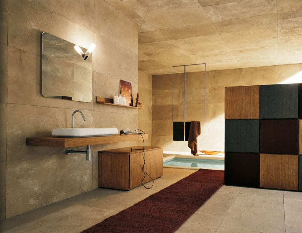 Top design modern bathroom with stone walls interior for Sophisticated bathroom design