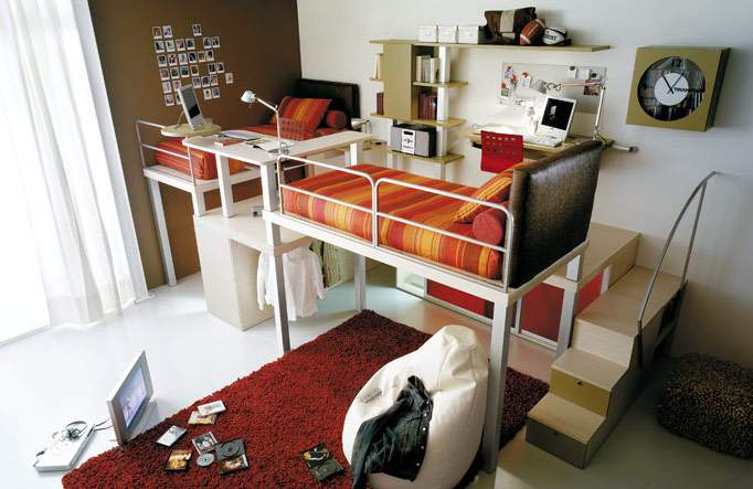 Twin Bunk Beds and Lofts Design for Kids with Red Rugs