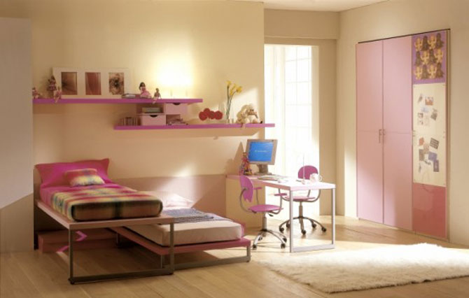 Twin Pink Bedroom With Computer Desk Interior Design Ideas
