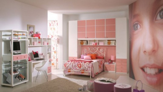 Unique Pink Room with Wall Photos Decoration
