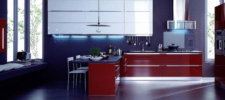 Veneta cucine blue and red kitchen interior design ideas for Red and blue kitchen ideas