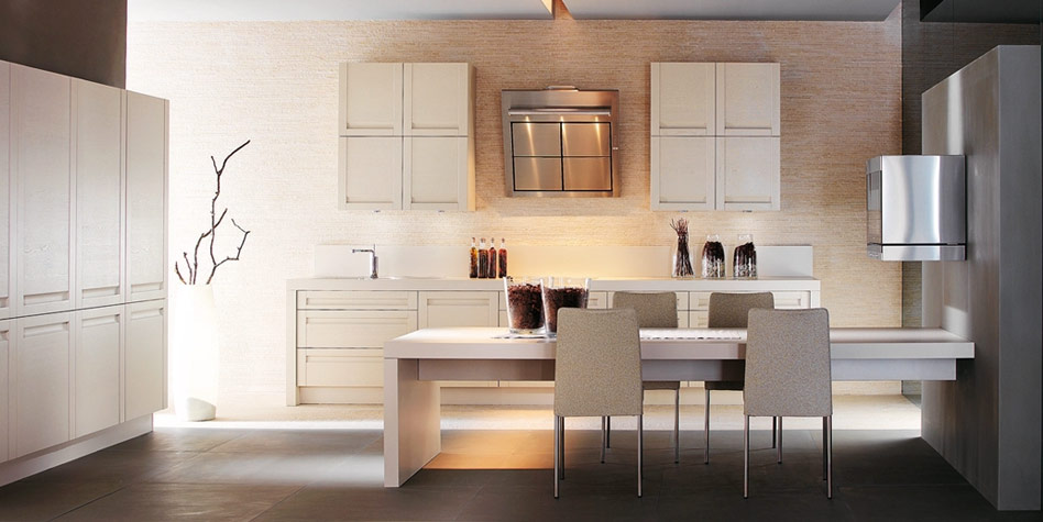 White Kitche With Brown Accents