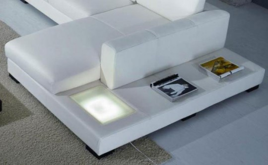 White Leather Modern Sectional Sofa Miami Beach