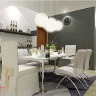 White Themed Dining Room Design Ideas Chandelier