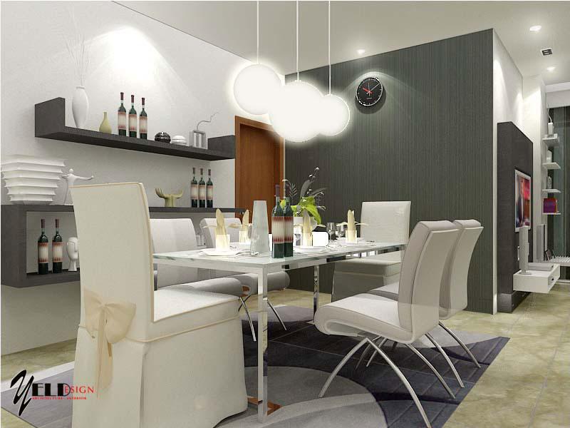 White Themed Dining Room Design Ideas Chandelier
