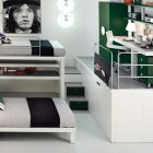 White and Green Bunk Beds and Lofts Design for Kids
