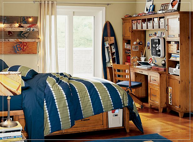 Wooden Boys Room Design with Surf Board