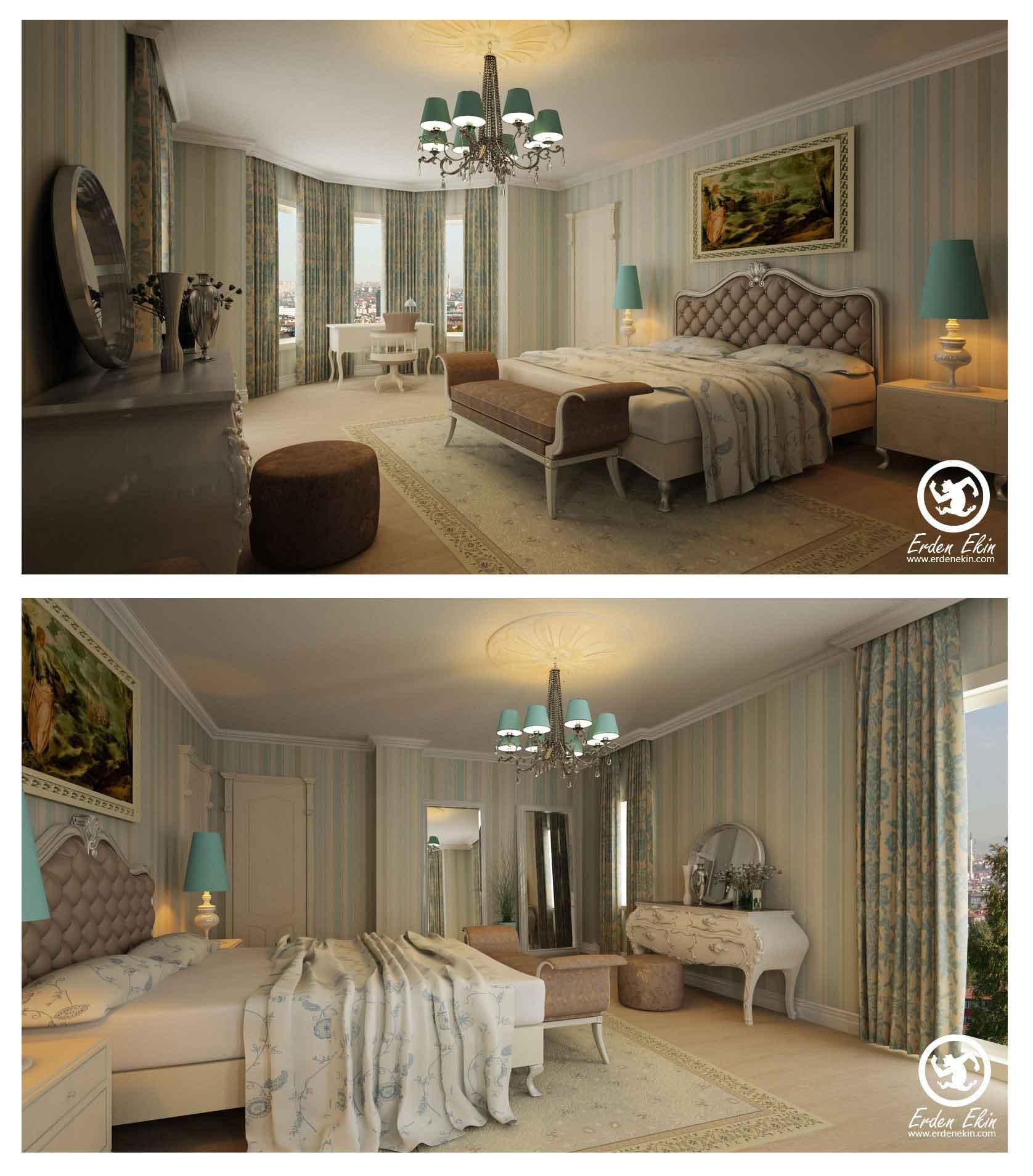 Yatak Odasi Beautiful Bedroom With Teal Accents Stripe Wallpaper Interior Design Ideas