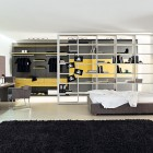 Yellow Grey Bedroom with White Bookcase and Black Rug