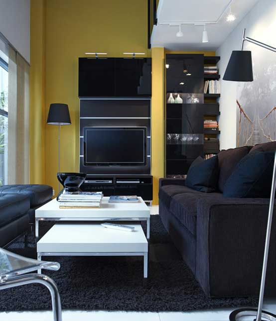 2011 ikea black and yellow living room with small space interior design ideas - Black and yellow living room ...