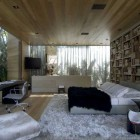 Amaziing Bedroom Glass Walls with Wood Ceiling and Floor