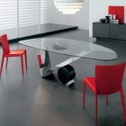 Amazing Glass Top Dining Table with Twin Red Chair